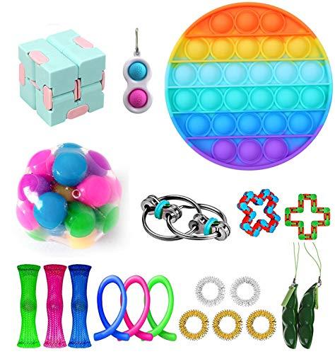 iSayhong - Conjunto de juguetes sensoriales para aliviar los nervios, el estrés y la ansiedad - Cubo con juguetes de gran calidad para niños adultos, especiales como regalos de fiesta de cumpleaños
