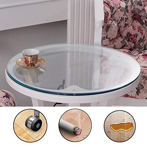 AGLZWY Chair Mat for Hard Floor Mat, Round Clear/Frosted Carpet Protector Tablecover Non-Slip Floor Protection Table Cloth Cover 1.5/2.0mm Thick, Customizable (Color : Clear-1.5mm, Size : 60cm)
