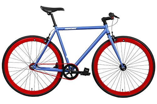 FabricBike-Fixie Bike, Fixed Gear Bike, Single Speed, Hi-Ten Steel Black Frame, 10Kg (Matte Blue & Red, L-58)