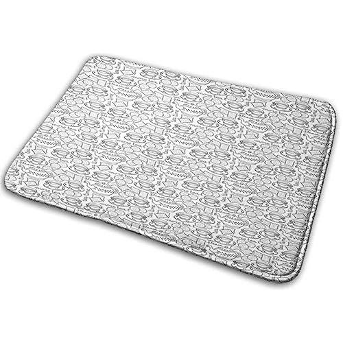 dilidy Fußmatte Badteppich Bodenmatte Teppich Tee Party Doodle Zeichnung Monochromes Geschirr Muster Mit Keksen Mehr Tee Worte