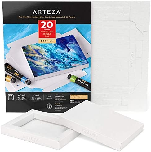 Arteza Acrylic Paper Foldable Canvas Pad 5x6 6 Inches 20 Sheets DIY Frame Heavyweight Acrylic product image