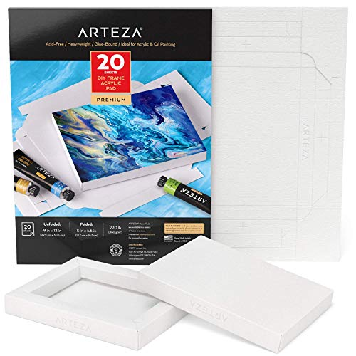 Arteza Acrylic Paper Foldable Canvas Pad, 5x6.6 Inches, 20 Sheets, DIY Frame, Heavyweight Acrylic Paint Paper, 220 lb, 360 GSM, Acid-Free,Art Supplies for Painting & Mixed Media Art