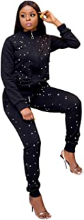 OLUOLIN Womens Casual Beaded 2 Piece Outfits Long Sleeve Zipper Jacket and Skinny Long Pants Tracksuit Set