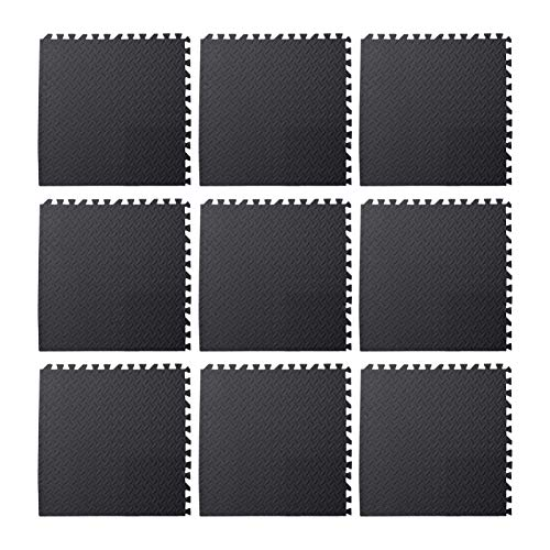 9pcs Foam Floor, Gym Flooring Mat Exercise Mats P uzzle Eva Floor Tiles Foam Exercise Mats, 11.81x11.81x0.47inch, For Play Rooms, Exercise Rooms(Black)