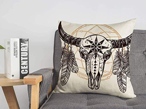 JUCHen Buffalo Tattoo Cattle Cow Skull Feathers Dreamcatcher Hand Animals Design Wildlife Nature Cotton Linen Throw Pillow Case Personalized Cushion Cover New Home Office Square 16 X 16 Inches