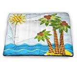"Farmhouse Decor Dog Crate Bed Tropic Island Objects Original Palms Waves and Sun Motif Like Needlework Print Pet Shock Mat Multi (21""x14"")"