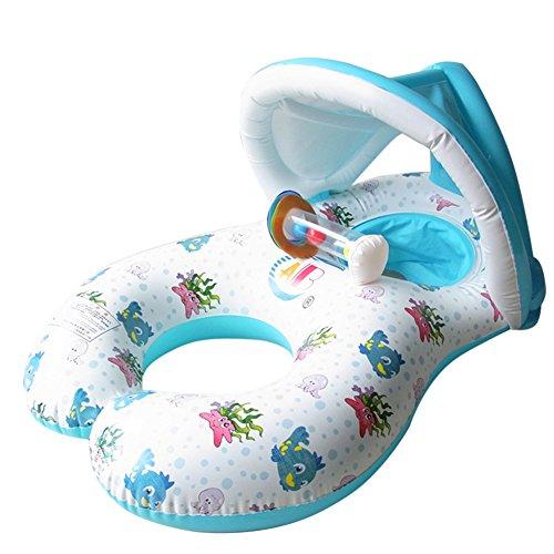 Madre y bebé nadar flota de seguridad inflable bebé piscina agua juguete asiento barco natación anillo con sol refugio Canopy doble persona padre-niño diseño