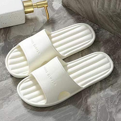 Zapatos de Mujer de Color gelatina, Planos, Suaves y Ligeros, Zapatillas de baño para Parejas, Zapatos Antideslizantes para Hombres, Sandalias de Interior para Dormitorio, Blanco, 42-43
