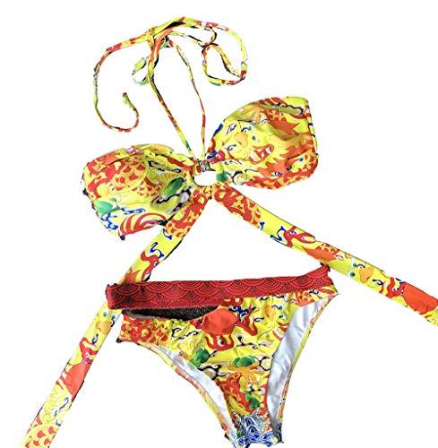 Charm4you Puntos Traje de Baño Sexy Bañador,2021 Nuevas Correas Estampadas Cuello Colgante Traje de baño Dividido-Printing_M #,Estampado Tie-Dye Traje de Bikini