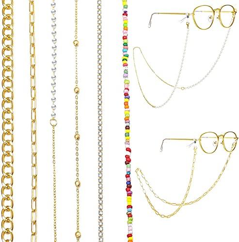 YUIOLIL Cadena para Gafas, 6 Piezas, cordón para Cadena Facial, para Mujeres, niñas, Oro/Plata, Cadena Colgante, Collar de eslabones, Conjunto de Cadenas para Gafas, Anti-pérdida Alrededor del Cuello