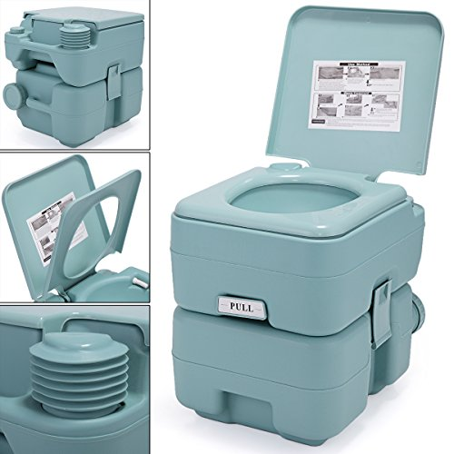 JAXPETY 5 Gallon 20L Flush Porta Potti Outdoor Indoor Travel Camping Portable Toilet for Car, Boat, Caravan, Campsite, Hospital (20L Green)
