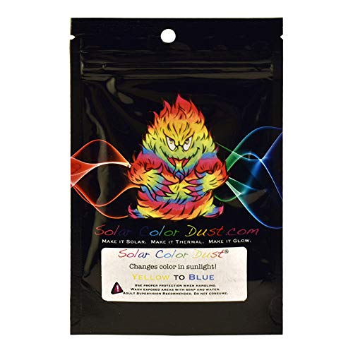 Solar Color Dust Sunlight and UV Sensitive Powder, Changes from Yellow to Blue, 10 gram bag