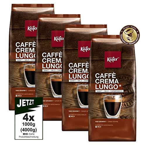 Käfer Caffe Crema SANFT-MILD Lungo Ganze Bohnen 4x 1000g (4000g) - Premium Kaffee