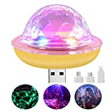 Mini Party Lights,USB Disco Light, Sound Activated Disco Ball Lamps Portable Led Car Atmosphere Light with 4 Types Interfaces for Xmas Parties,Pool,Club,Church,Karaoke,Bars