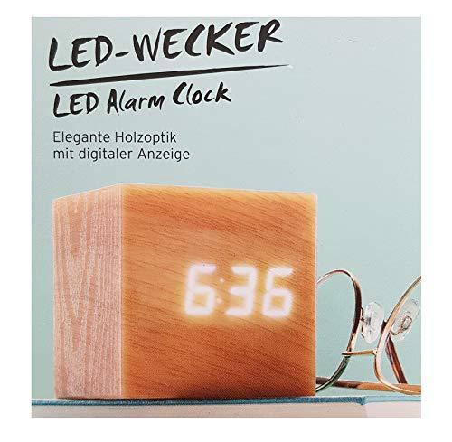 Tchibo TCM LED Wecker Würfelwecker mit digitaler Anzeige in Holzoptik