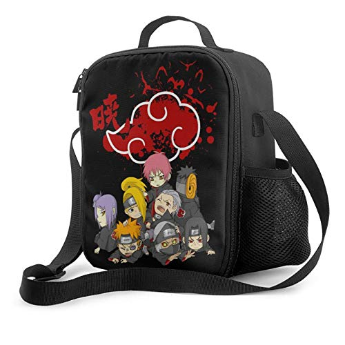 Girls Na-ru-to Reusable Lunch Bag Lunch Box, Uchiha Itachi Akatsuki Cloud Insulated Lunch Tote With Shoulder Strap, Waterproof Leakproof Lunch Pail Bag for Outdoor Picnic School Office Beach Travel