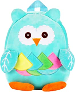Cute Kids Toddler Backpack Plush Toy Animal Cartoon Children Bag for 1~5 Years Baby (Owl_Blue)