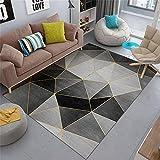 alfombras Lavables Infantiles Alfombra Negra, diseño geométrico, fácil de aspirar, Elegante Alfombra Suave insonorizada alfombras Dormitorio pie de Cama -Negro_El 180x280cm