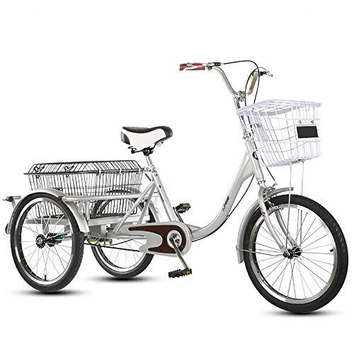 NAINAIWANG Senioren Dreirad Erwachsene 3 Rad Fahrrad Flexibel Damenfahrrad Cityfahrrad City Bike Tricycle mit Korb Einkaufskorb für Senioren City Outdoor Sports Shopping