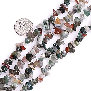 "SHGbeads Genuine Indian Agate Chips 7-8mm Gemstone Semi Precious For Jewelery Making 34"" per strand:Qukualian"