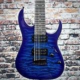 Ibanez GRG 7 String Solid-Body Electric Guitar, Right, Transparent Blue Burst, Full (GRG7221QATBB)