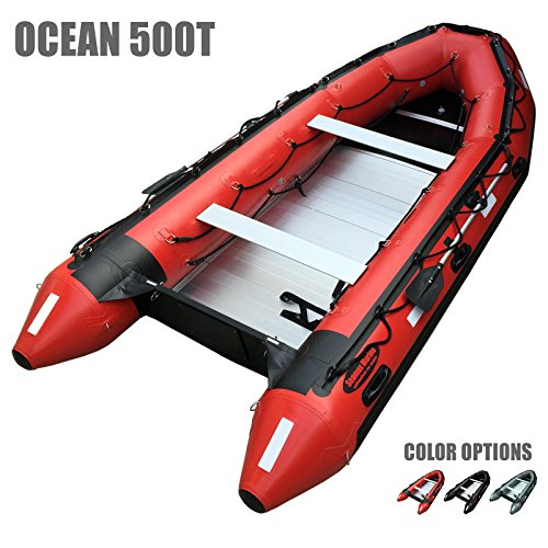 Great Price! Seamax Ocean500T 16.5 Feet Commercial Grade Inflatable Boat, Max 15 Passengers and 50HP Rated (Red)