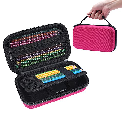 Big Capacity Multifunction Pencil Case - MASiKEN Hard Stationery Pencil Pen Case Storage Bag Pouch (Pink)