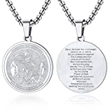 Saint Michael Necklace for Men Boy Police Gift Stainless Steel Pendants Police Saint Necklace