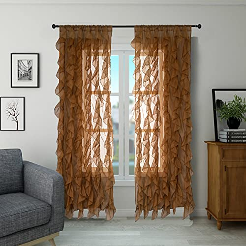 """PearAge Waterfall Type Sheer Voile Vertical Ruffled Curtain Blackout Window Tasseles Cascade Princess Curtains Valance for Living Room,Bedroom Basement 2 Panel Drapes 84"""" L Brown"""