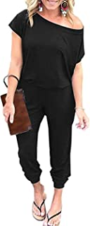 Famulily Womens Summer Short Sleeve Off One Shoulder Elastic Waist Jumpsuit Rompers with Pockets
