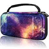 Fintie Carry Case for Nintendo Switch Lite 2019 - [Shockproof] Hard Shell Protective Cover Bag with 15 Game Card/2 Micro SD Card Slots, Inner Pocket for Switch Lite Console & Accessories, Galaxy