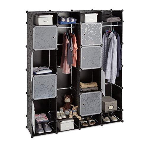 Relaxdays Kleiderschrank Stecksystem, 20 Fächer, Kunststoff, großer Garderobenschrank m. Muster,...