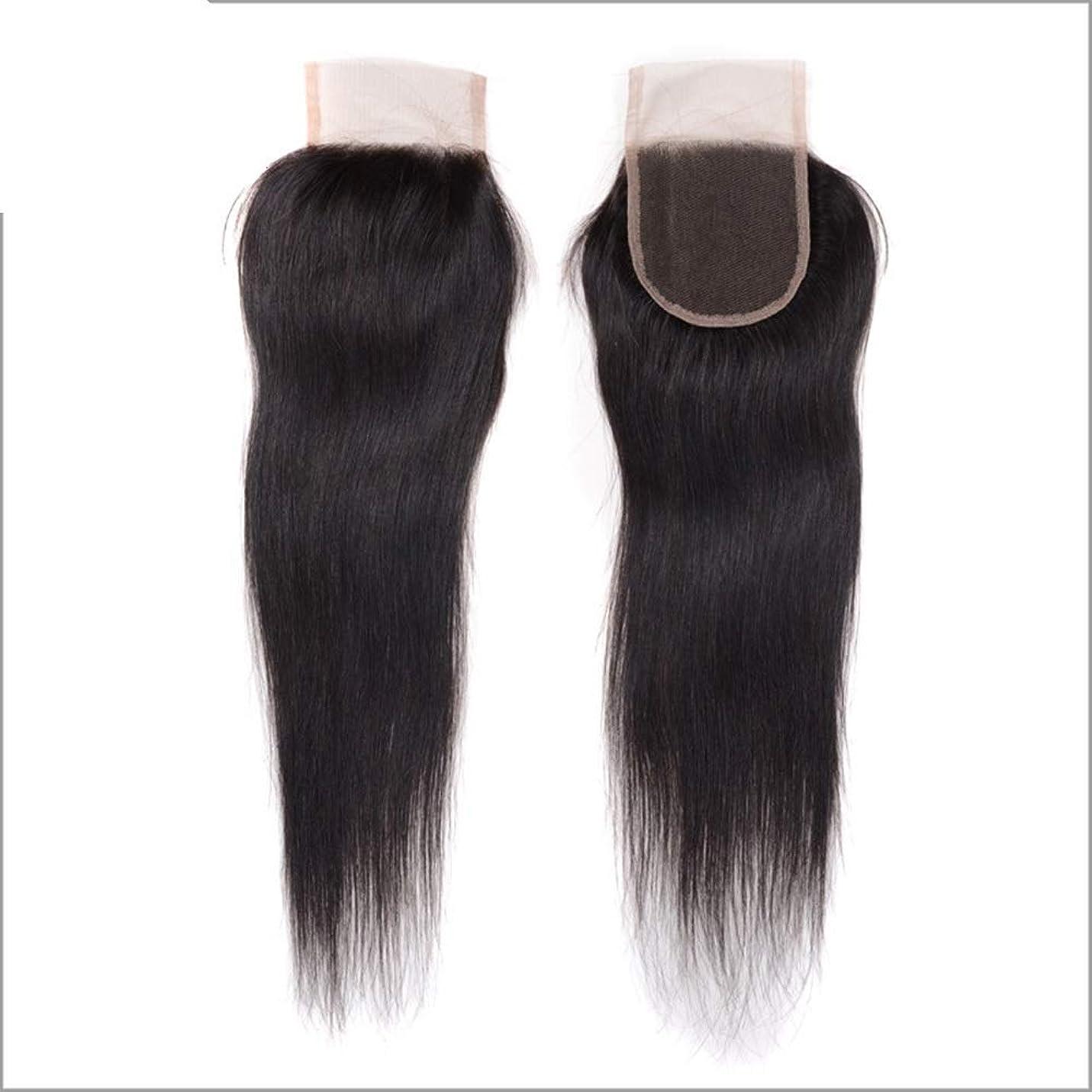 HOHYLLYA レース前頭ストレートブラジルのバージンの人間の毛髪の完全なレースのシルク4×4閉鎖複合毛レースのかつらロールプレイングかつら (色 : 黒, サイズ : 18 inch)