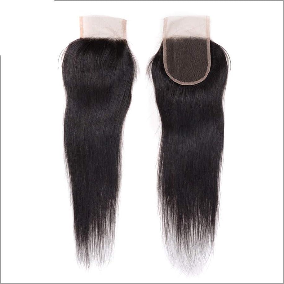 デュアルポーチ宇宙HOHYLLYA レース前頭ストレートブラジルのバージンの人間の毛髪の完全なレースのシルク4×4閉鎖複合毛レースのかつらロールプレイングかつら (色 : 黒, サイズ : 18 inch)