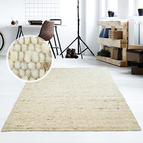 Taracarpet Moderner Handweb Teppich Alpina handgewebt aus Schurwolle für Wohnzimmer, Esszimmer, Schlafzimmer und die Küche geeignet (170 x 230 cm, 60 Beige meliert)
