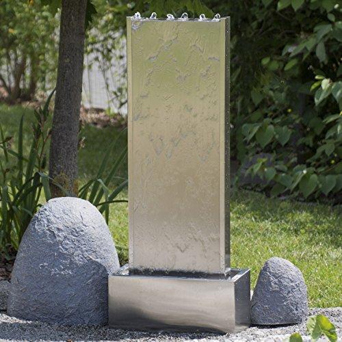 Köhko® Wasserwand 23001 aus Edelstahl Wasserspiel ca. 97 cm Höhe mit LED-Beleuchtung für Garten, die Terrasse und Wohnzimmer