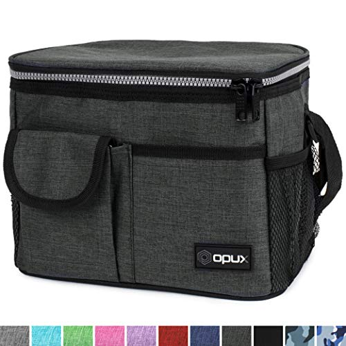 OPUX Lunch Bag Insulated Lunch Box for Women, Men, Kids | Medium Leakproof Lunch Tote Bag for School, Work | Lunch Cooler with Shoulder Strap, Pocket | Fits 8 Cans (Charcoal)