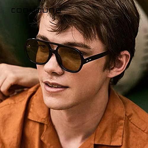 ShZyywrl Gafas De Sol Gafas De Sol De Doble Puente para Hombre, Gafas De Sol Clásicas Cuadradas Clásicas, Gafas De Sol para Playa Al Aire L