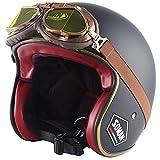 HBRE Casco Moto,Scooter Casco De Protección Certificado CE,Resistente, Transpirable Integral Casco de Seguridad para Deportes al Aire Libre 55-63CM,4,2XL