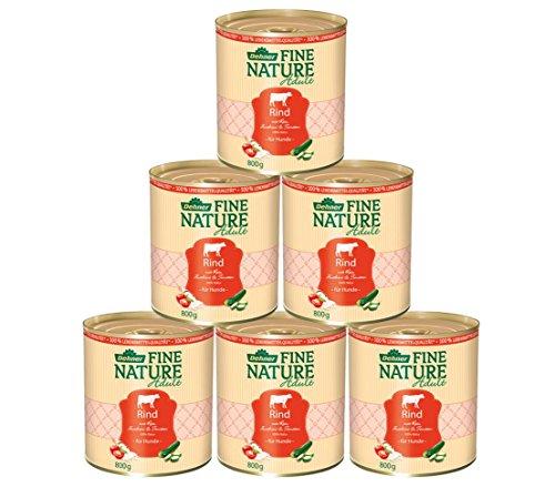 Dehner Fine Nature Hundefutter Adult, Lebensmittelqualität, Rind, 6 x 800 g (4.8 kg)