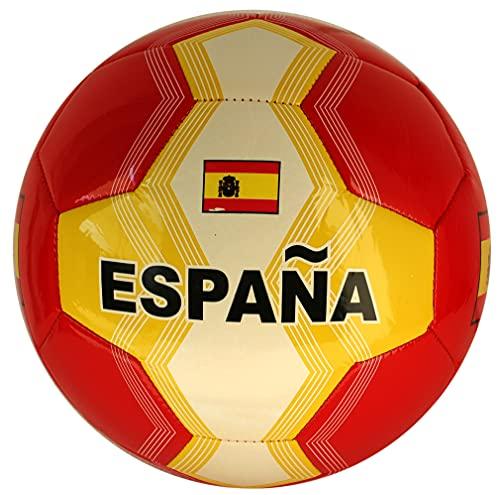 Balón de fútbol de España con bandera de España, talla 5, color amarillo y rojo