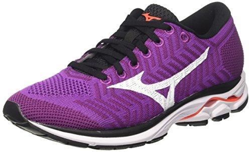 Mizuno Waveknit R1 Wos, Zapatillas de Running Mujer, Multicolor (Hyacinthviolet/White/fierycoral 01), 38.5 EU
