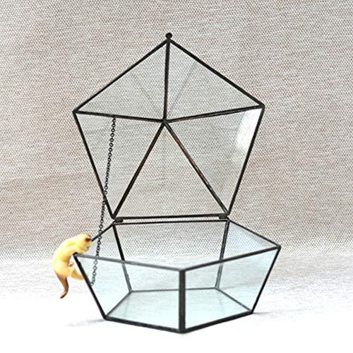 LZDseller01 Geometrische transparente Glas-Blumenkasten-Wandhalterung hängende Pyramide Vertikales Metallglasfensterbrett-Tischplatte Innovatives Hauptdekor