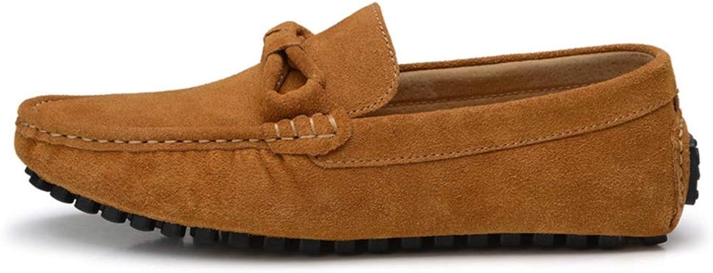 shoes shoes Lazy shoes Driving Casual Men's shoes Leather Men's Peas shoes (color   Brown, Size   42)