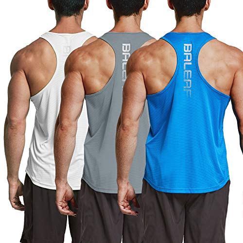 BALEAF Men's Stringer Tank Top Workout Gym Yoga Sleeveless Shirts Dri Fit 3 Pack White/Gray/Blue Size L