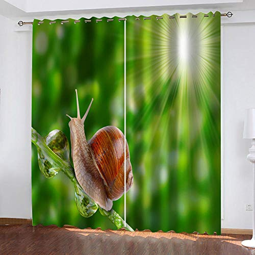 WTBDWOSH Curtains Blackout Eyelet 3D Animal Cute Snail Printing Curtains For Living Room Kids Bedroom Home Decoration 140X160 Cm (Wxh) 2 Panels, Thermal Insulated Energy Saving Noise Reduce