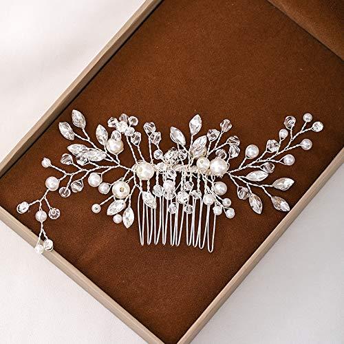 Braut Perle Haarkamm,Silber Kristall Handarbeit Haarschmuck,Perle Haarkamm Clip Hochzeit Brautschmuck Haar Zubehör