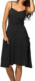 WENOVL Sexy Dresses for Women,Women Summer Sexy Buttons Solid Off Shoulder Sleeveless Dress Princess Dress