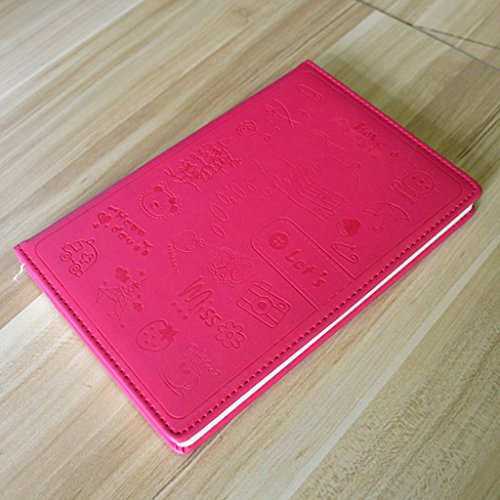 CS A5 Notebook schattige cartoon schrijfwaren leder notebook business kantoorbenodigdheden dagboek 80G dik rozerood