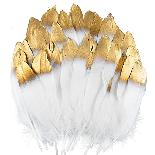 UNEEDE Gold Tipped White Feathers, 42 PCS Natural Goose Feathers for DIY Wedding Decorations, Angel Wings & Fairy Crafts